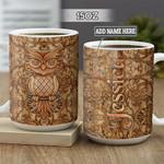 Personalized Owl Leather Style BGZ2701013Z Full Color Ceramic Mug