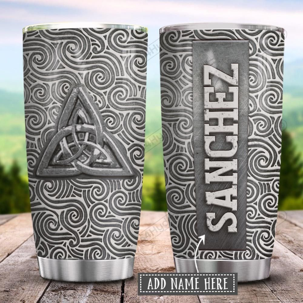 Silver Style Celtic Symbol Personalized KD2 HRL2701025Z Stainless Steel Tumbler