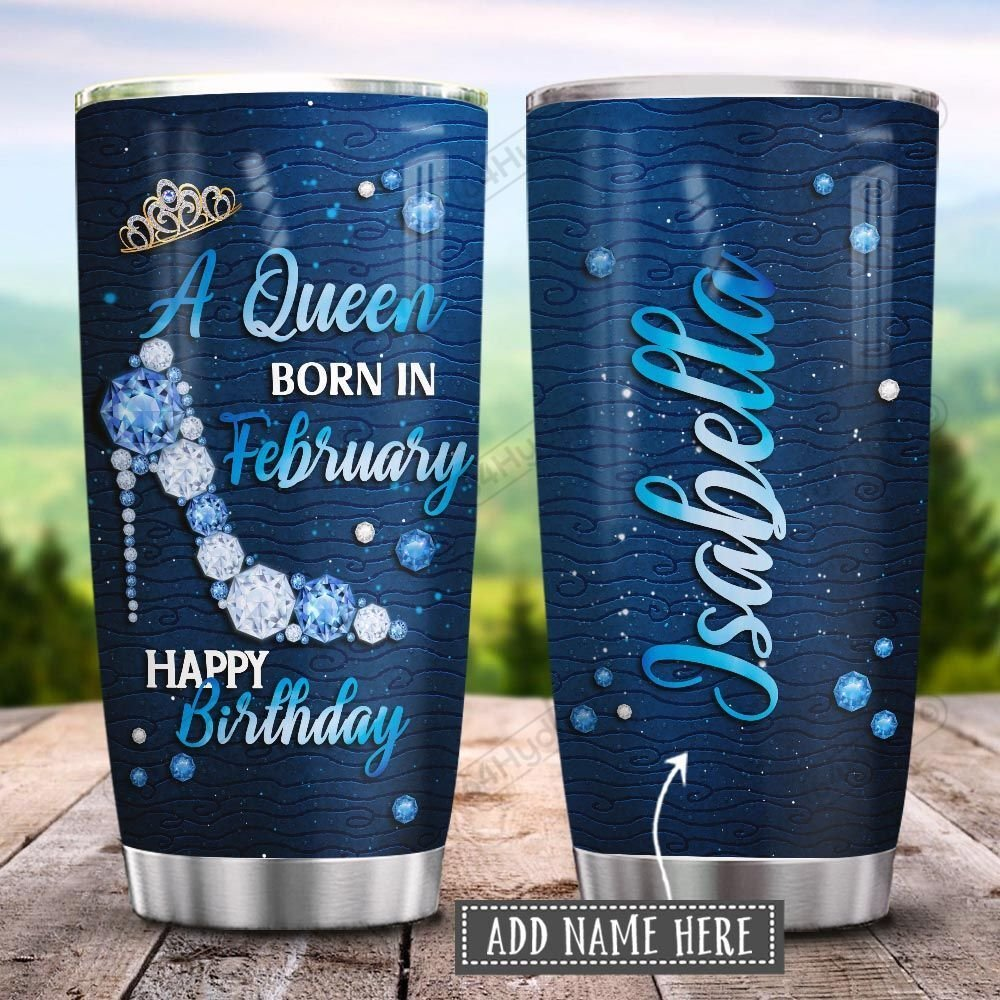 Metal Style February Queen Personalized KD2 HRL2701021Z Stainless Steel Tumbler