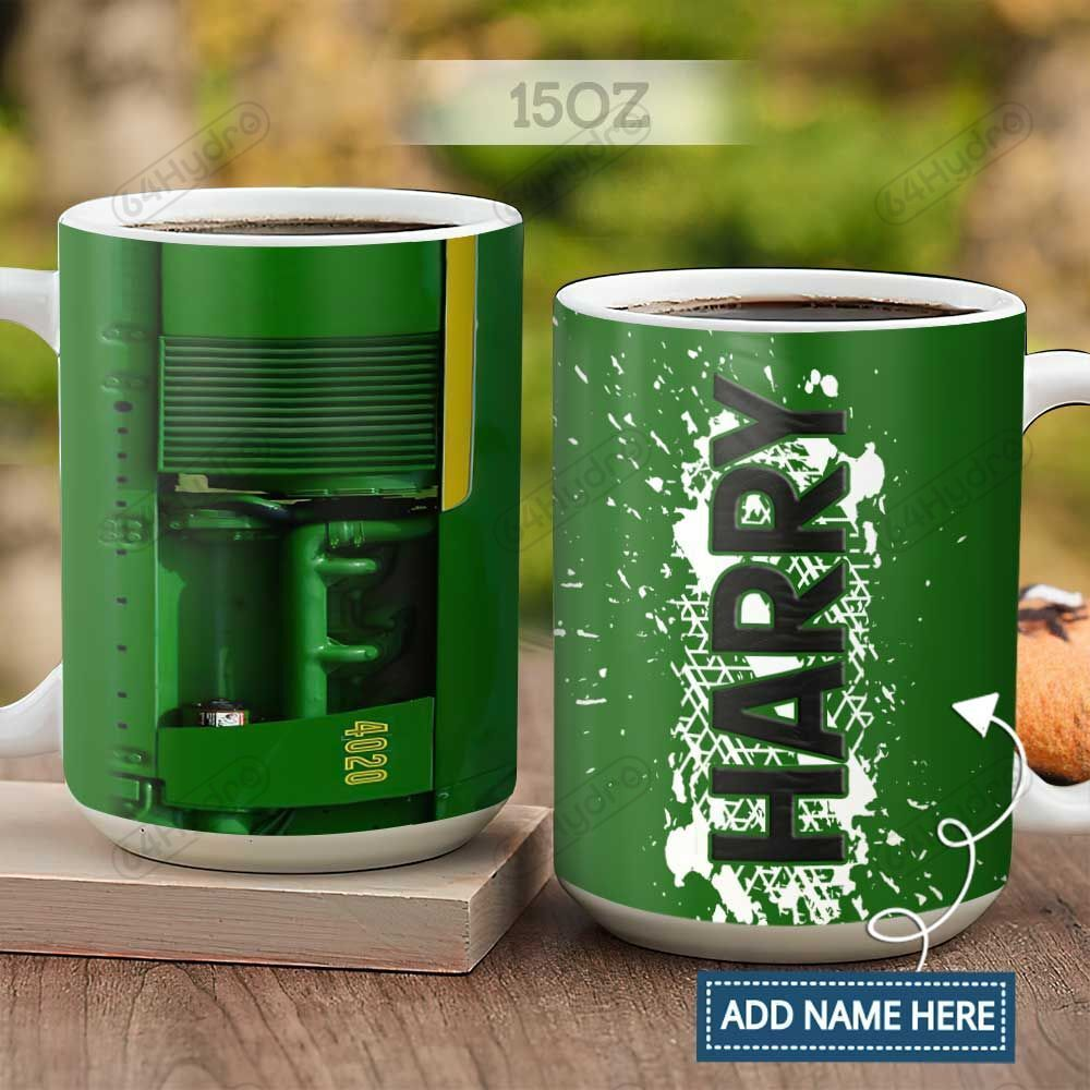Green Tractor Farmer Personalized KD2 HAL2701007Z Full Color Ceramic Mug