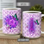 Personalized Purple Rose Butterfly BGZ2801003Z Full Color Ceramic Mug