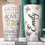 Faith Butterfly Personalized PYR0102005Z Stainless Steel Tumbler