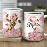 Personalized Giraffe Flowers DNM0202008Z Full Color Ceramic Mug