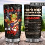 Puerto Rico Take It Easy Nutrition Facts Personalized KD2 HRX3012011 Stainless Steel Tumbler