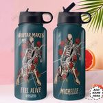 Guitar Skull Personalized HHR2210023 Stainless Steel Bottle With Straw Lid