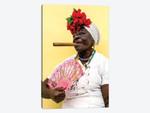 Woman Smoking Cigar In Havana Cuba