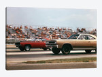 1970s 2 Cars Drag Racing Grandstand Race Speed Competition Automotive Brownsville Indiana Raceway