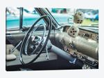 USA, Massachusetts, Cape Ann, Gloucester. Antique car, antique car steering wheel and fuzzy dice