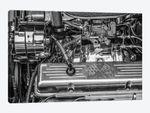 USA, Massachusetts, Essex. Detail of antique cars, hot rod engine.