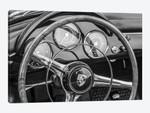 USA, Massachusetts, Essex. Antique cars, detail of 1963 Porsche 356 steering wheel