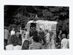 1960s Gathering Of Hippie Kids In Woods With Psychedelic Painted Van In Background