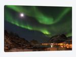 Northern Lights over village Maervoll, island Vestvagoy. Lofoten Islands. Norway