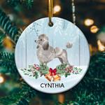 Gray Poodle Circle Ornament