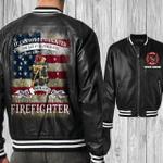 Firefighter Black Bomber Leather Jacket