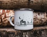 Personalised Camp Mug For Couples Campervan Decor Camping Mug Wedding Date Gift Van Life Enamel Mug Gifts For Campers RV Accessories