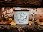 Engagement Gift Future Mrs Personalized Enamel Mug Mountain Wedding Just Engaged Camping Mug Custom Coffee Mug