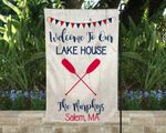 Lake House Yard Flag, Red White and Blue Lake House Sign