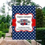 Patriotic Pop Up Camper Flag for Campsite Personalized, Happy Campers Flag
