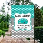 Happy Campers Flag for Campsite Personalized, Campsite Welcome Sign with Family Name