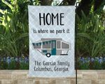 Home is where we park it Pop Up Camper Flag, Campsite Flag with Pop Up Camper