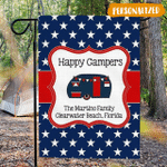 Patriotic Camp Site Flag Personalized, Red White and Blue Happy Camper Flag