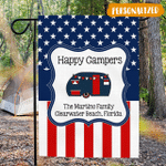 Stars and Stripes Campsite Flag Personalized, Patriotic Happy Campers Flag For Campsite