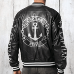 Personalized boat captain Bomber Leather Jacket
