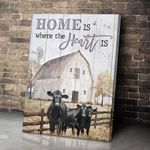 Canvas Angus Cow Home Is