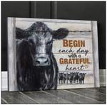 Canvas Angus Cow Begin Each Day