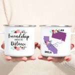 Personalized State to State Best Friend Enamel Mug - Friendship Knows No Distance