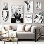 Hand in Hand Smoke Girl Sexy Fashion Poster Black White Gray Print Canvas Painting Wall Art Decoration Picture Living Room Decor