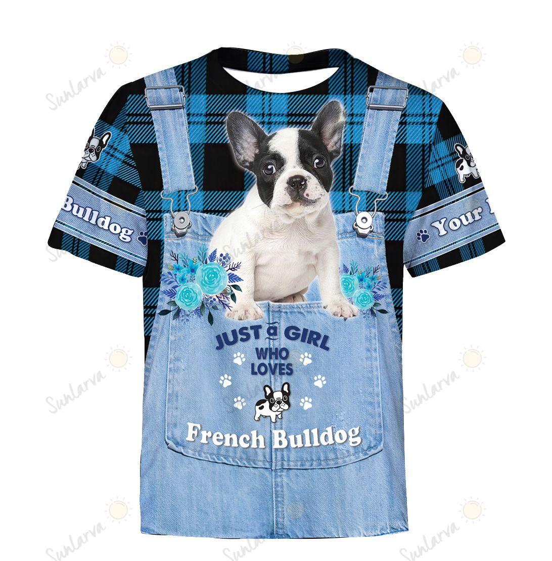 Bulldog Denim Girl loves French Bulldog Customized (3d Full Print) Hoodie-MT010147Ha