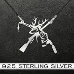 Hunting Gun, Deer, Rod And Fish Handmade 925 Sterling Silver Pendant Necklace