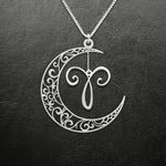 Zodiac Aries Moon Phase Handmade 925 Sterling Silver Pendant Necklace