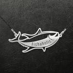Fishing Fishaholic Handmade 925 Sterling Silver Pendant Necklace