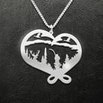Fishing Fishing Hook Heart Handmade 925 Sterling Silver Pendant Necklace