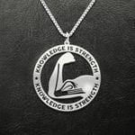 Reading Knowledge Is Strength Handmade 925 Sterling Silver Pendant Necklace