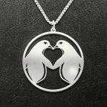 Valentine Penguin Couple Handmade 925 Sterling Silver Pendant Necklace