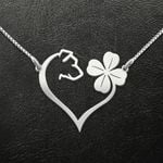 Dog Dog And Four Leaf Clover Heart Handmade 925 Sterling Silver Pendant Necklace