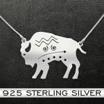 Bison Native Pattern Bison Handmade 925 Sterling Silver Pendant Necklace
