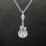 Music Lover Guitar Dad Handmade 925 Sterling Silver Pendant Necklace