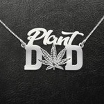 Plant Dad Weed Leaf Handmade 925 Sterling Silver Pendant Necklace