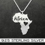Africa Continental Love Handmade 925 Sterling Silver Pendant Necklace
