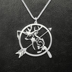 Hunting Deer Fish Rod And Arrow Handmade 925 Sterling Silver Pendant Necklace