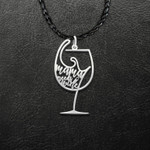 Wine Mom Wine Lover Glass Mother Mama Needs Wine Handmade 925 Sterling Silver Pendant Necklace