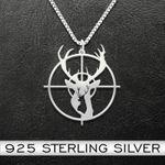 Deer Hunting Necklace Handmade 925 Sterling Silver Pendant Necklace