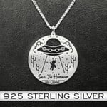 See Ya Human Alien Necklace Handmade 925 Sterling Silver Pendant Necklace