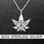 Weed In Hippie Handmade 925 Sterling Silver Pendant Necklace