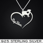 Pug Heart Mom Handmade 925 Sterling Silver Pendant Necklace