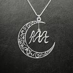 Zodiac Aquarius Moon Phase Handmade 925 Sterling Silver Pendant Necklace